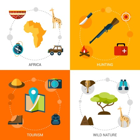 jungle animals: Safari design concept set with africa tourism wild nature hunting flat icons isolated vector illustration