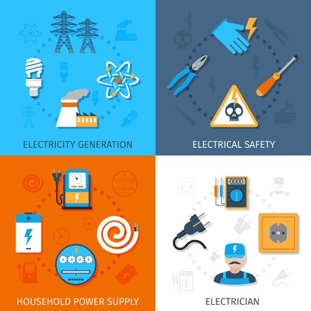 electrical equipment: Electricity design concept set with generation electrical safety household power supply electrician flat icons isolated vector illustration Illustration