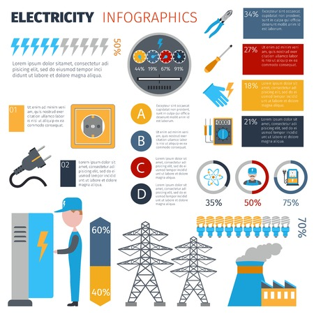 generation: Electricity infographics set with energy and power generation symbols and charts vector illustration