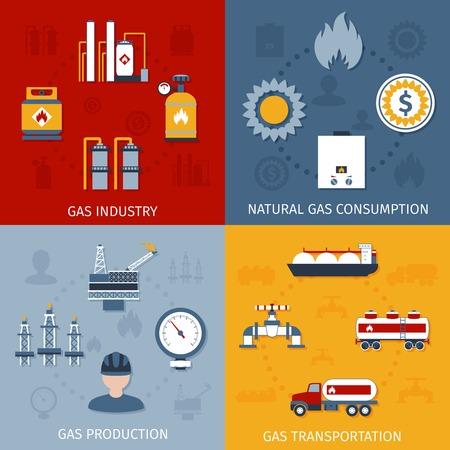 cisterna: Industria del gas natural bruto, transporte producción y el consumo de 4 iconos planos composición diseño abstracto ilustración vectorial aislado
