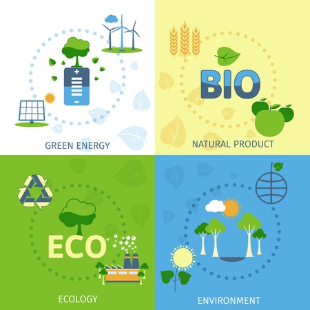 Save planet green ecological energy environment natural bio product power 4 flat icons composition abstract vector illustration Vector