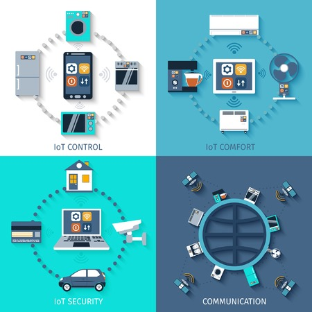 cosa: Internet de las cosas de casa inteligente 4 iconos planos composici�n de confort con control remoto abstracto ilustraci�n vectorial aislado