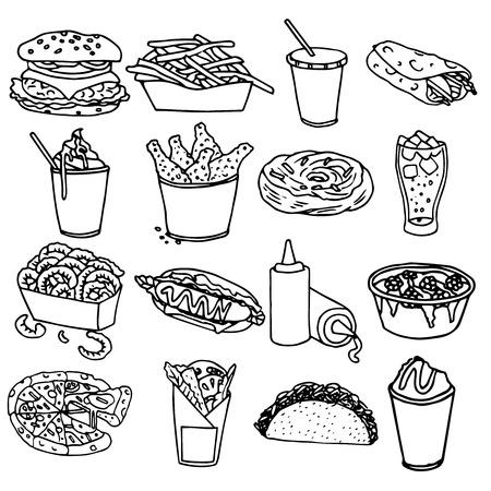 chips and salsa: Fast food menu icons set with hamburger chips hotdog black outline symbols emblems sketch isolated vector illustration