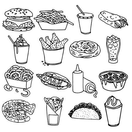 Fast food menu icons set with hamburger chips hotdog black outline symbols emblems sketch isolated vector illustration