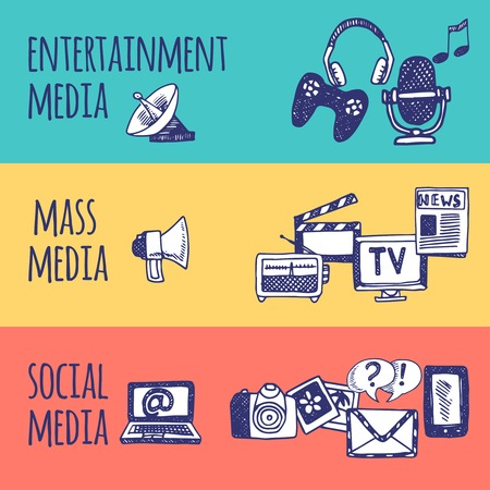 medios de comunicacion: Misa mano horizontal entretenimiento medios de comunicaci�n social conjunto de la bandera dibujada ilustraci�n vectorial aislado