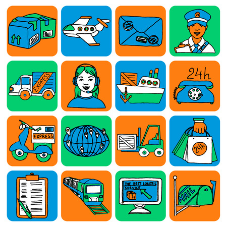 The best logistic service cartoon style icons set of express delivery sketch color abstract isolated vector illustration Vector