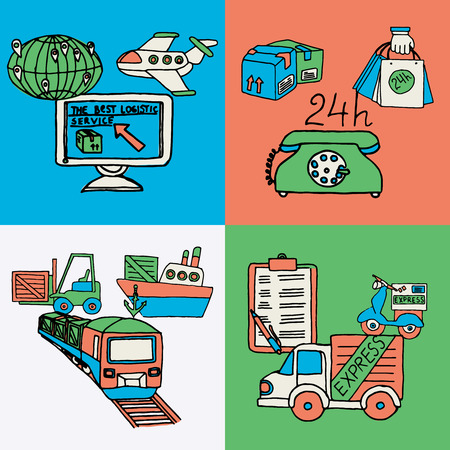 The best logistics computer coordinated 24h express worldwide service 4 flat icons composition abstract isolated vector illustration Vector