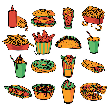 chips and salsa: Fast food  restaurant menu icons collection with taco wrap and double cheeseburger abstract color isolated vector illustration Illustration