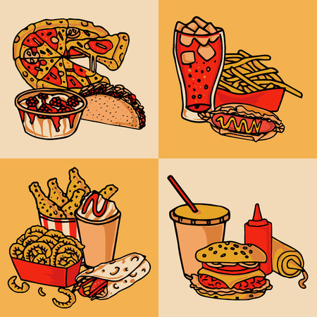 soft drinks: Fast food chain menu 4 flat icons composition of taco hotdog and hamburger abstract isolated vector illustration Illustration