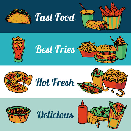 chips and salsa: Fast food restaurant menu with pizza and hot drumsticks flat horizontal banners set abstract isolated vector illustration
