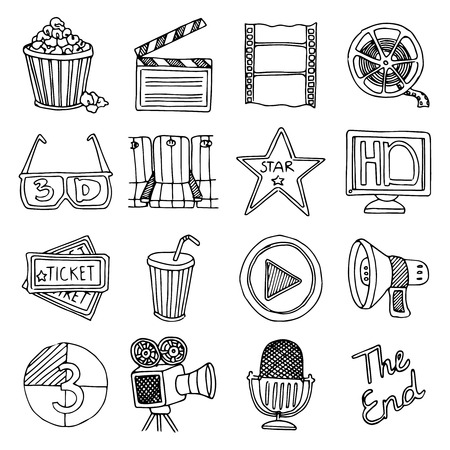movie and popcorn: Retro cinema festival and movie theater black icons set 3d glasses and tickets abstract isolated vector illustration