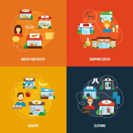shop local: Store building design concept set with bakery pastry shopping center grocery clothing flat icons isolated vector illustration