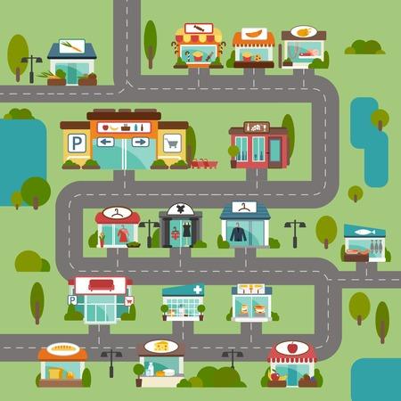 Camino de ciudad con las tiendas de comestibles y tiendas comerciales de alimentos fondo plano ilustración vectorial
