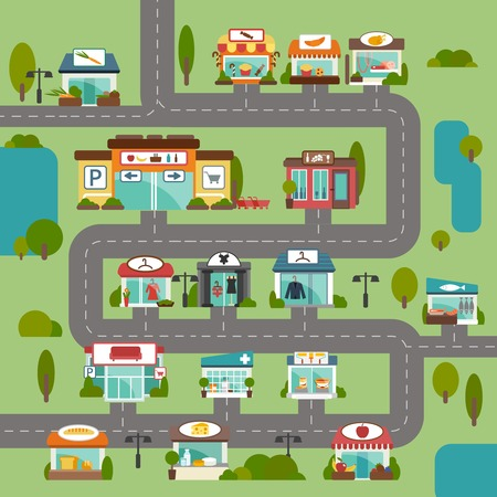 City road with food grocery commercial stores and shops flat background vector illustration Ilustracja