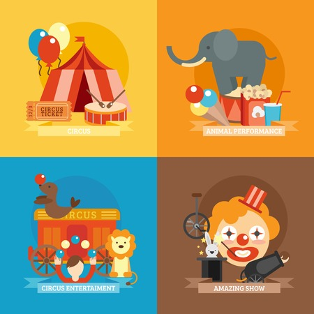 circus caravan: Circus design concept set with animal performance entertainment amazing show flat icons isolated vector illustration