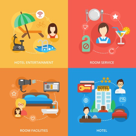 Hotel design concept set with entertainment room service facilities flat icons isolated vector illustration Illustration