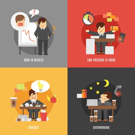 workplace stress: Deadline stress at work 4 flat icons composition of results drop burnout and overworking abstract vector illustration
