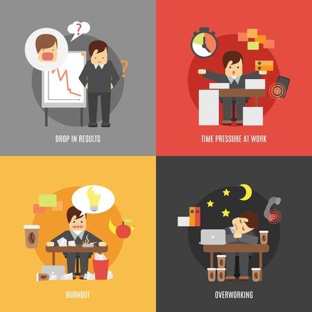 Deadline stress op het werk 4 vlakke pictogrammen samenstelling van de resultaten vallen burnout en overbelasting abstract vector illustratie