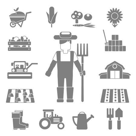 Farmer work black decorative icons set with vegetables harvest tractor fork isolated vector illustration Vector