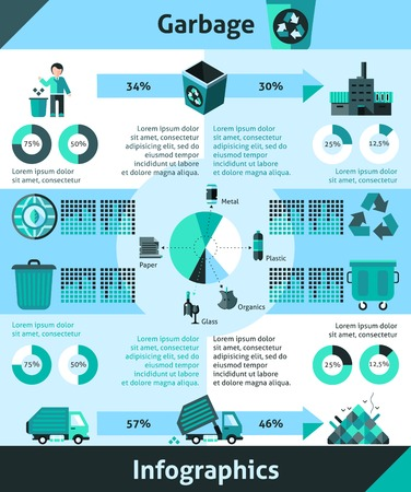 trashing: Garbage infographics set with cleaning and recycling symbols and charts vector illustration