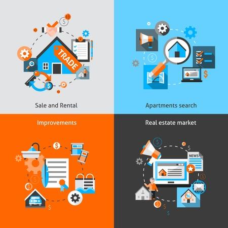 Concept de conception immobilière sertie de vente et la location appartement du marché améliorations de recherche icônes plates isolé illustration vectorielle Vecteurs