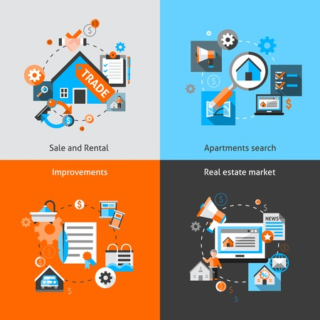 estate: Real estate design concept set with sale and rental market apartment search improvements flat icons isolated vector illustration