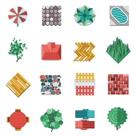 Gardens house outdoor landscape design elements icons set isolated vector illustration Vector