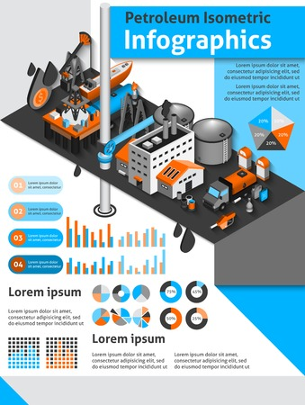 gas can: Petroleum isometric infographics set with oil production and distribution symbols and charts vector illustration