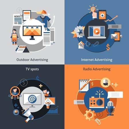 Advertising design concept set met outdoor marketing internet tv ziet vlakke pictogrammen geïsoleerd vector illustratie
