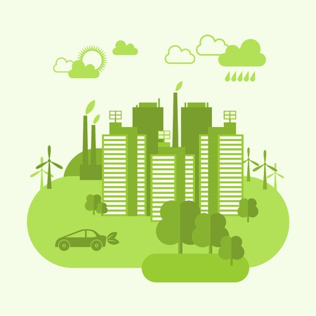 future city: Green eco town concept with buildings and environment ecosystem vector illustration Illustration