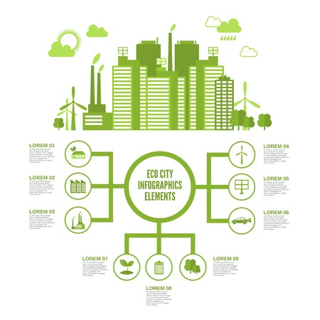 Eco town infographic set with green ecosystem elements and arrows vector illustration Stock Illustratie