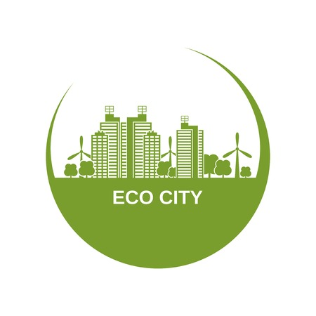 green buildings: Eco city design with green buildings and windmills in circle shape vector illustration Illustration