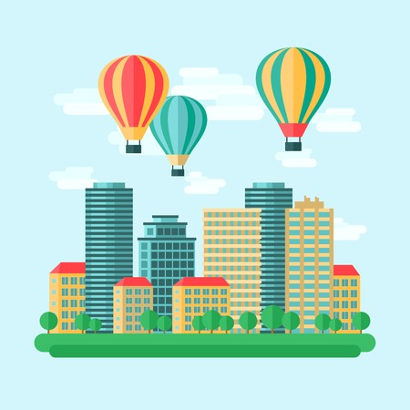 agency: Aircraft hot air balloons flight city view travel agency entertainment background poster print flat abstract vector illustration
