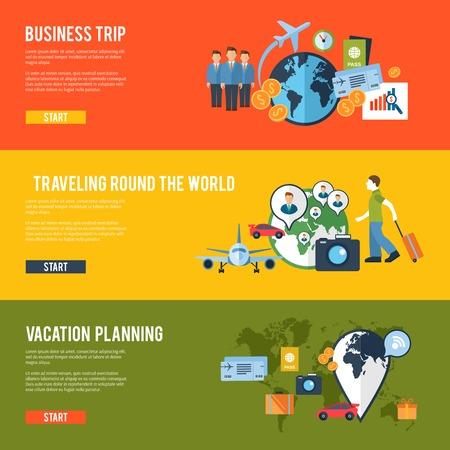 Autour de la réunion de l'équipe d'affaires mondial d'itinéraire de déplacement pour planifier leurs voyages bannières horizontales ensemble abstrait isolée illustration vectorielle