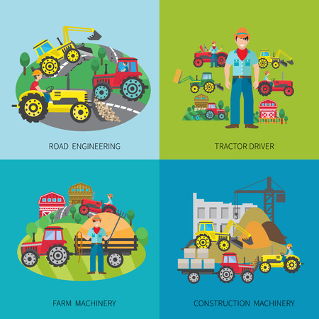 farm tractor: Tractor driver design concept set with road engineering farm and construction machinery flat icons isolated vector illustration