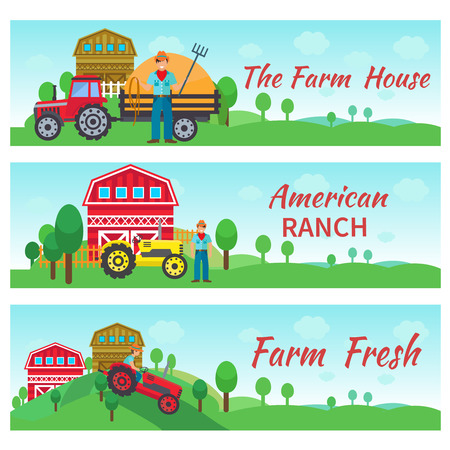 ranch: Tractor driver banners horizontal set with farm house american ranch flat elements isolated vector illustration