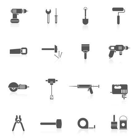 rollerbrush: Black and white tools for repair and home improvement in bw color vector illustration