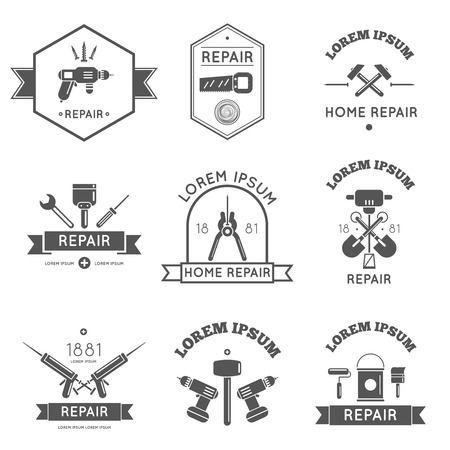 Black and white icon label tools for repair and home improvement in bw color vector illustration