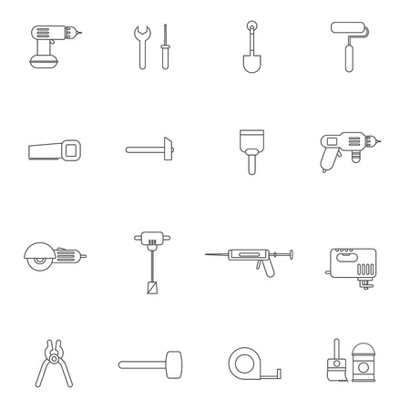 screwdriwer: Outline tools for repair and home improvement in bw color vector illustration