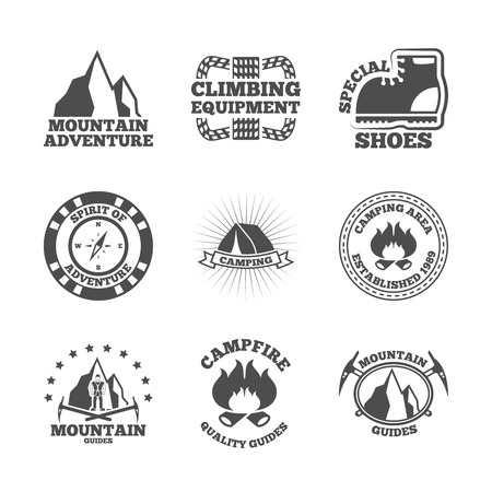 alpinist: Mountains climbing equipment quide and camping area adventures black labels emblems icon set abstract isolated vector illustration