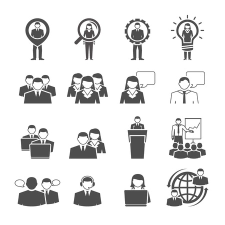 business goal: Business management team individuals gender composition for effective global cooperation black icons set abstract isolated vector illustration