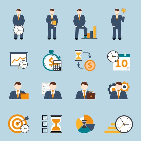 Effective office hours  time management and realistic goal planning strategy flat icons collection abstract isolated vector illustration Vettoriali