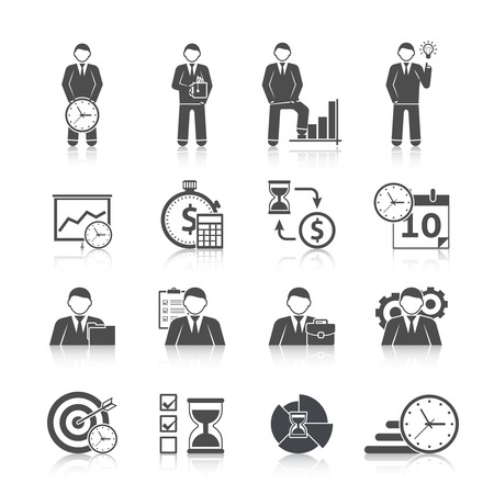 Time management businessman day activity planning strategy black icons set with calendar hourglass abstract isolated vector illustration