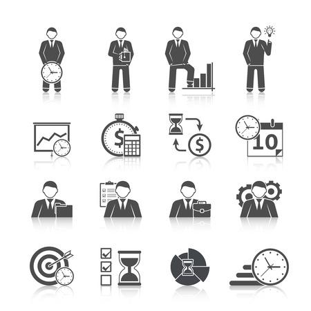Time management zakenman dag activiteit planningsstrategie zwarte pictogrammen set met kalender zandloper abstracte geïsoleerd vector illustratie Stock Illustratie