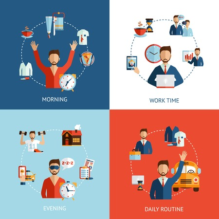 priority: Businessman daily routine 4 flat icons composition of morning working hours and evening abstract isolated vector illustration