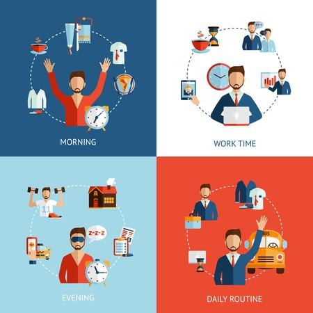 gestion del tiempo: Empresario rutina diaria 4 iconos planos composición de las horas de trabajo por la mañana y por la noche abstracto ilustración vectorial Vectores