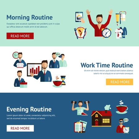 morning routine: Morning working hours and evening daily routine businessman cartoon character horizontal flat banners abstract isolated vector illustration