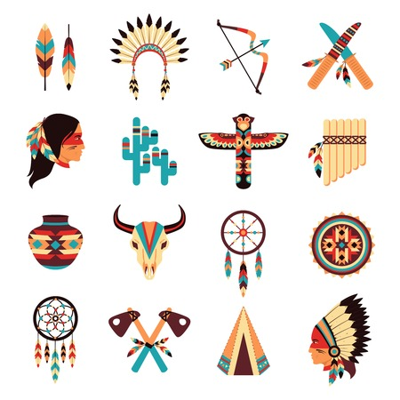 native american headdress: Ethnic american idigenous tribal amulets and symbols icons collection  with native feathers headdress abstract isolated vector illustration