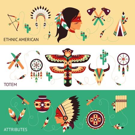 indios americanos: Tribus americanas nativas tótems étnicos protección tradicionales y atributos concepto histórico horizontal banners conjunto abstracto ilustración vectorial