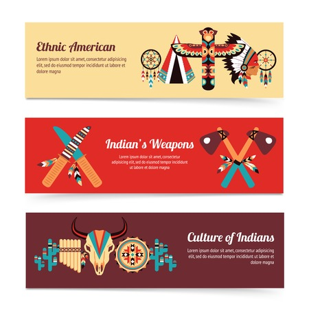 hatchet: American indigenous people cultural concept horizontal banners set with traditional native tomahawk hatchet weapon abstract vector illustration